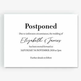 'Postponed' Wedding Postponement Card