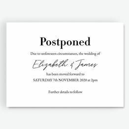 \'Postponed\' Wedding Postponement Card