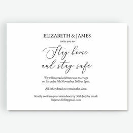 'Stay Home & Stay Safe' Wedding Postponement Card