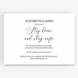 \'Stay Home & Stay Safe\' Wedding Postponement Card
