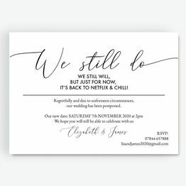 'We Still Do, We Still Will' Wedding Postponement Card