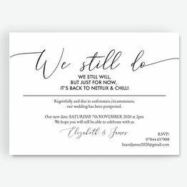 \'We Still Do, We Still Will\' Wedding Postponement Card
