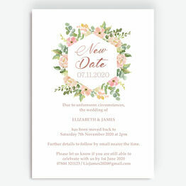 Blush Pink Flowers 'New Date' Wedding Postponement Card