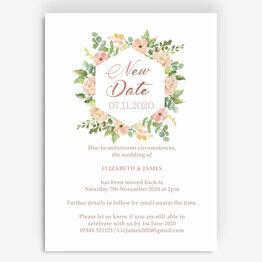 Blush Pink Flowers \'New Date\' Wedding Postponement Card