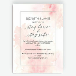 Blush Pink Watercolour \'Stay Home, Stay Safe\' Wedding Postponement Card