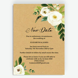 Rustic Cream Flowers 'New Date' Wedding Postponement Card
