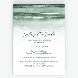 Forest Green 'Delay the Date' Wedding Postponement Card