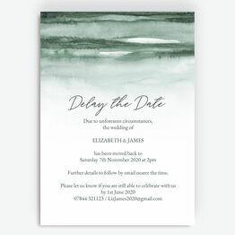 Forest Green \'Delay the Date\' Wedding Postponement Card