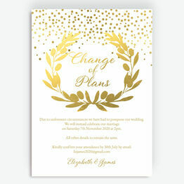 Golden Olive Wreath 'Change of Plan' Wedding Postponement Card