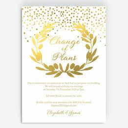 Golden Olive Wreath \'Change of Plan\' Wedding Postponement Card