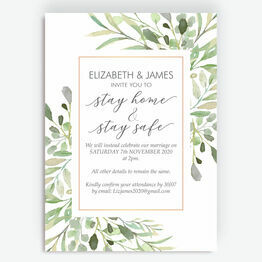 Greenery Frame \'Stay Home, Stay Safe\' Wedding Postponement Card