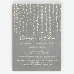 Grey Fairy Lights 'Change of Plan' Wedding Postponement Card