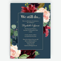 Navy, Burgundy & Blush Floral 'We Still Do' Wedding Postponement Card