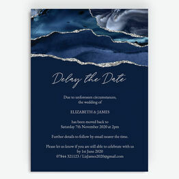 Navy Blue & Silver 'Delay the Date' Wedding Postponement Card