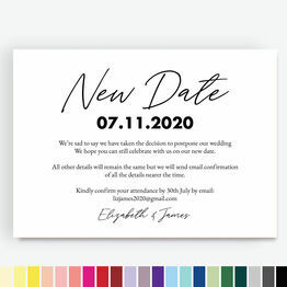 'New Date' Wedding Postponement Card