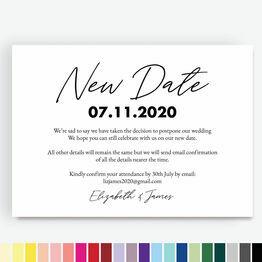 \'New Date\' Wedding Postponement Card