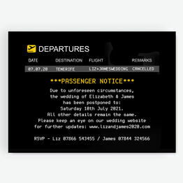 Destination Wedding Departures Board Postponement Announcement Card
