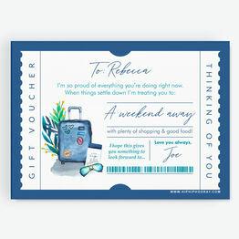 Weekend Away / Citybreak / Hotel Trip Personalised Postponement Gift Token