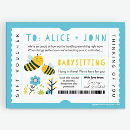 Babysitting Personalised Postponement Gift Token