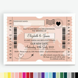 Boarding Pass Destination Wedding Postponement Announcement Card
