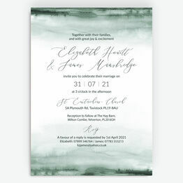 Forest Green Watercolour Wedding Invitation