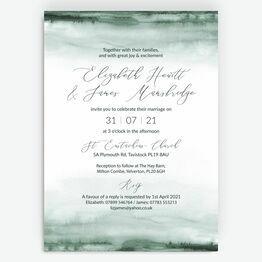 Forest Green Watercolour Wedding Invitation