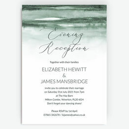 Forest Green Watercolour Evening Reception Invitation