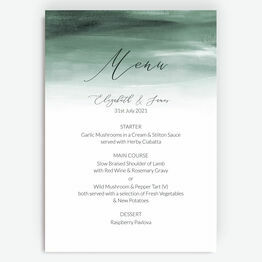 Forest Green Watercolour Menu