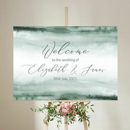 Forest Green Watercolour Wedding Welcome Sign