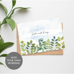 Pack of 10 Personalised 'Watercolour Leaves' Note Cards