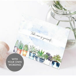 Pack of 10 Personalised 'Succulents' Note Cards
