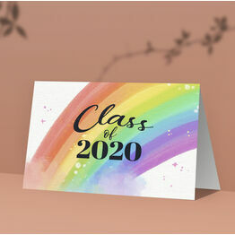 Pack of 10 \'Class of 2020\' Rainbow Note Cards / Thank You Cards