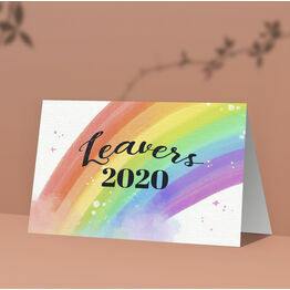 Pack of 10 \'Leavers 2020\' Rainbow Note Cards / Thank You Cards