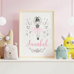 Pink Ballerina Personalised Wall Print