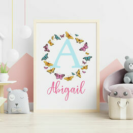 Colourful Butterflies Personalised Wall Print