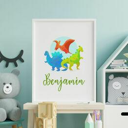 Dinosaurs Personalised Wall Print