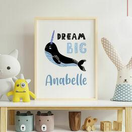 Narwhal Personalised \'Dream Big\' Wall Print