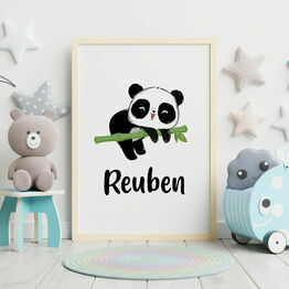 Panda Bear Personalised Wall Print
