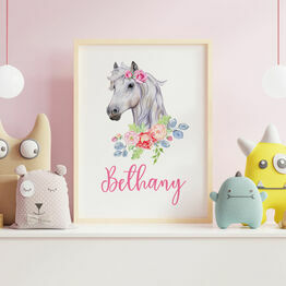 Pony / Horse with Flowers Personalised Wall Print