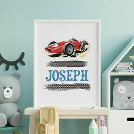 Racing Car Personalised Wall Print