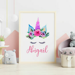 Unicorn Flower Crown Personalised Wall Print