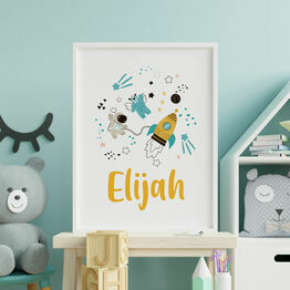 Outer Space Rocket / Astronaut Personalised Wall Print