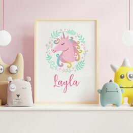 Unicorn Personalised Kids Wall Print