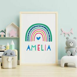 Rainbow Personalised Nursery Wall Print