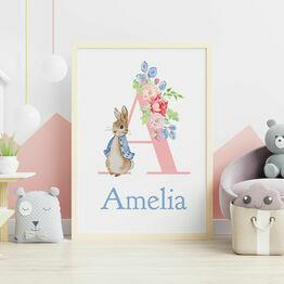 Peter Rabbit Personalised Wall Print - Pink