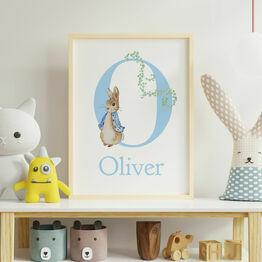 Peter Rabbit Personalised Wall Print - Blue