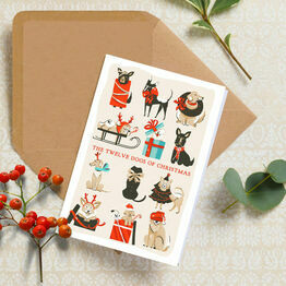 Pack of 10 \'12 Dogs Of Christmas\' Illustrated Christmas Cards