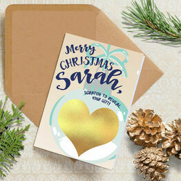 Personalised Scratch Off Bauble Gift Reveal Christmas Card