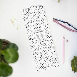 Personalised Black & White Dots Perpetual Calendar