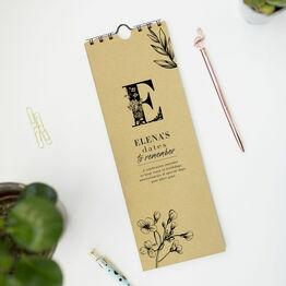 Personalised Floral Monogram Perpetual Calendar